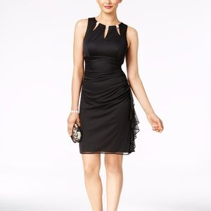 B&A by Betsy and Adam Embellished Ruffled Sheath
