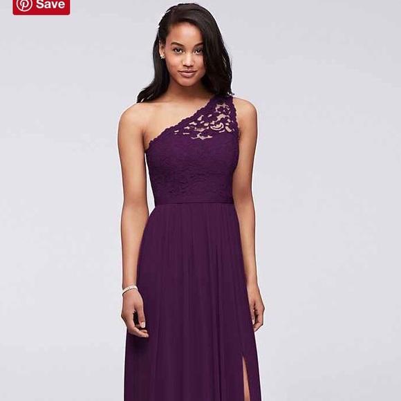 8eec7a86cda David s Bridal Dresses   Skirts - F17063 LONG ONE SHOULDER LACE BRIDESMAID  DRESS