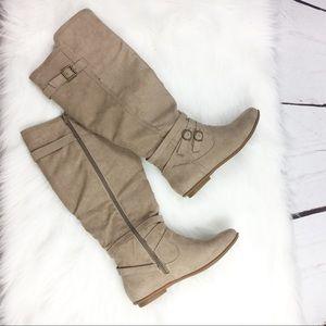Tan Wide Calf Zip Boots