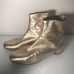Topshop Gold Leather Booties