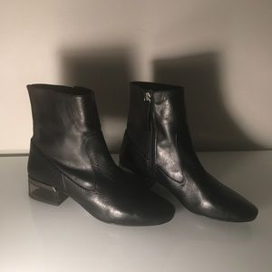 Topshop Black Leather Boots w Clear Heel