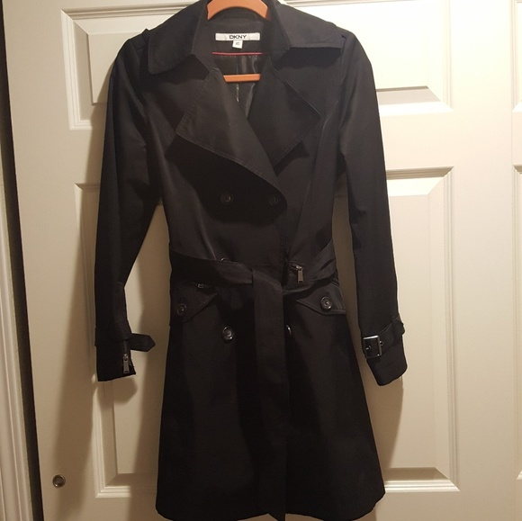 the latest detailing entire collection Dkny black trench coat jacket rain wind xs