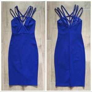 NEW Sz S GoJane blue caged neck Bodycon dress