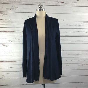 Zara Knit Open Front Navy Sweater Cardigan Sz L