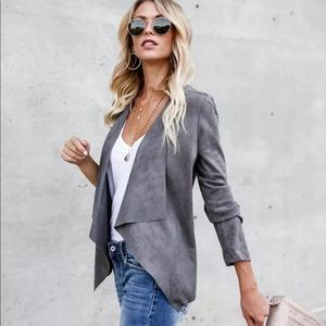 Jackets & Blazers - ❤️Slate Gray Suede Waterfall Jacket