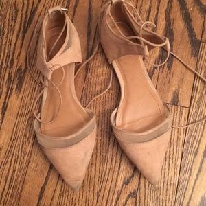 Zara nude lace up ballet flats