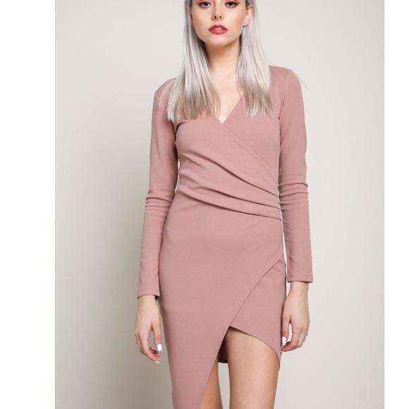 61065211760 🆕Marley Mauve Bodycon Long Sleeve Wrap Dress. M_5a0c40e05c12f8e641036d16
