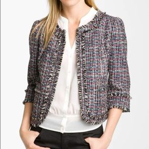 Frenchi Vanity Tweed Fringe Crop Jacket multicolor