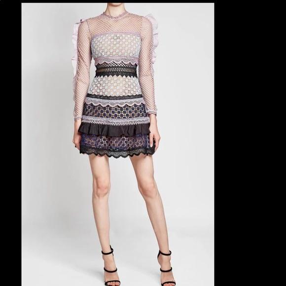 206f0e475db Self-Portrait Bellis-Frilled Sleeved Lace Dress