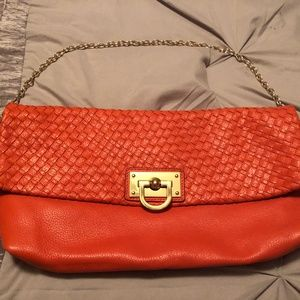 Banana Republic Orange Leather Bag w/ Gold Chain