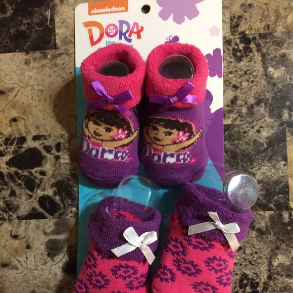 Nickelodeon Toddler Girl Pink Dora the Explorer Slippers Sock Top House Shoes