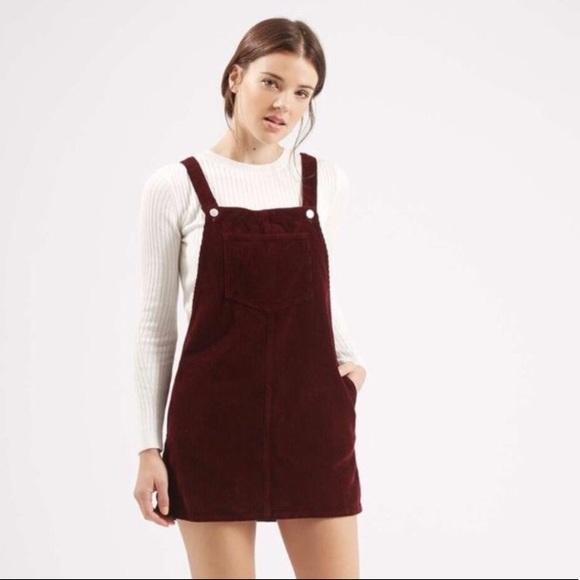 801dc849f43 Burgundy corduroy overall mini dress. M 5a0c4895b4188ed686038506