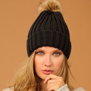 🆕Kate Dark Charcoal Gray Faux Fur Pom Pom Beanie