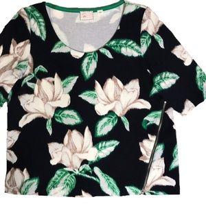 Anthropologie Postmark Hawaiian Zipper Blouse