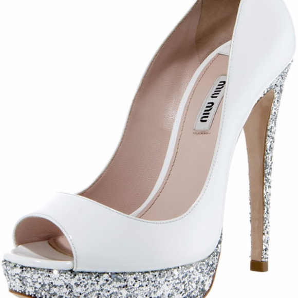Miu Miu Silver White And Glitter Heel