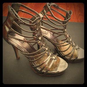 Bonnibel caged metallic heels in 7.5