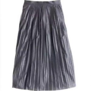 J Crew metallic pleated navy blue midi skirt Sz 10