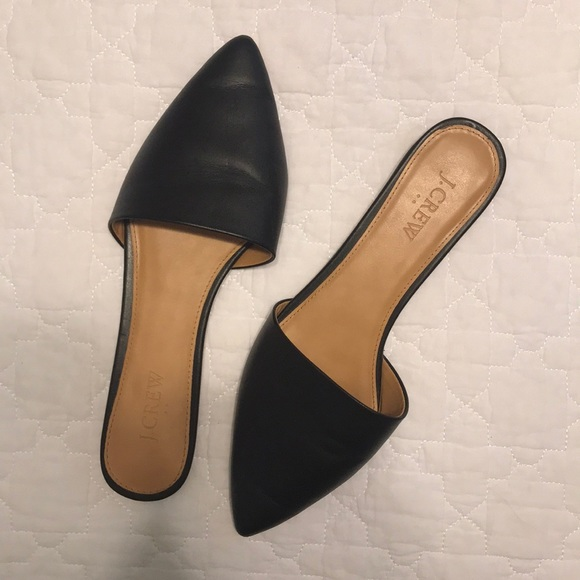 938d6c3012b5 J. Crew Shoes - Jcrew black leather pointed toe mules slides 8