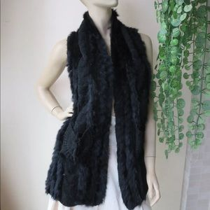 Jackets & Blazers - Black Rabbit Fur + Crochet Vest Jacket