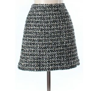 J Crew Black & Gold Tweed Skirt