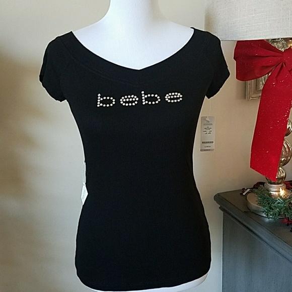 98d1ad40c2a bebe Tops | Swarovski Crystal Logo Tshirt Large Nwt | Poshmark