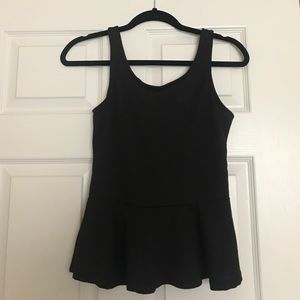 New black peplum shirt with chiffon bow on back