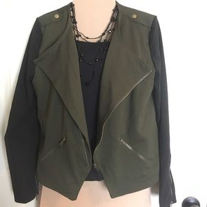 Size large olive green and black jacket