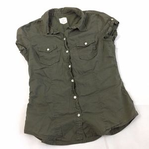 H&M LOGG  Size 6 Button Down Green Shirt