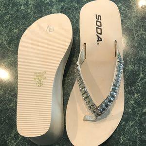 e577325020178 Shoes - Cream Bling Wedge Flip Flops