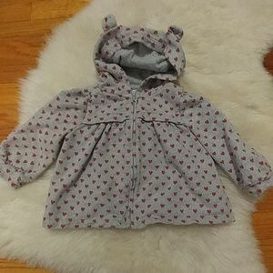 ❄Baby Gap heart hoodie with bear ears