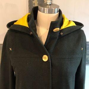 Alice + Olivia wool and silk coat, overcoat, hood,