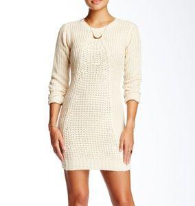 Flared knit sweater dress