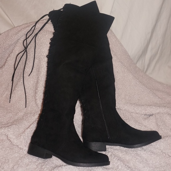 41117fdec65 Black suede back laced over the knee boots