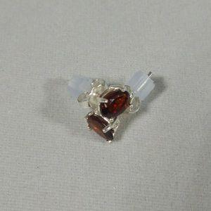 925 Sterling Silver Stud Garnet Earrings Oval