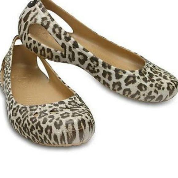 crocs leopard flats