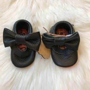 Other - Black Leather Red Bottom Fringe Bow Baby Moccasins