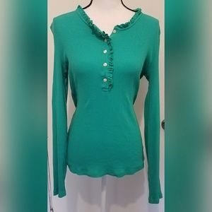 Lilly Pulitzer Green Top Buttons Size Small Blouse