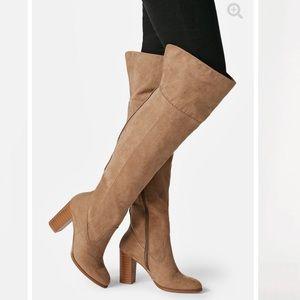 Wide Calf Rebekah Heeled Suede Tan Boots 7 JustFab