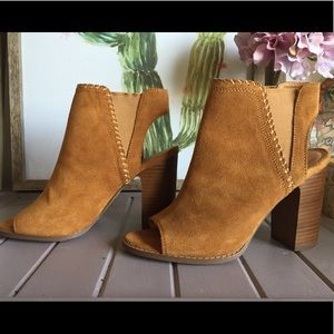 Gorgeous Tan Suede Open toe booties by UO