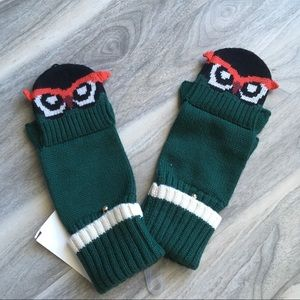 Kate Spade green owl gloves NWT