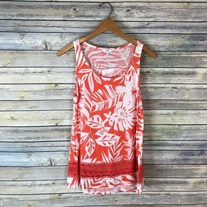 Crown & Ivy Orange Floral Sleeveless Lace Tank