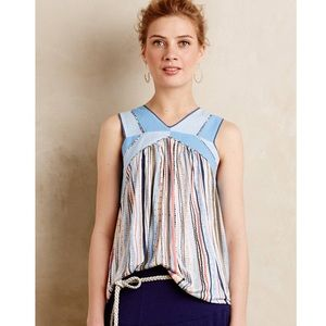 One September Anthropologie Meseta Blue Tank