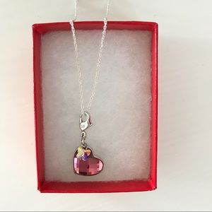 Swarovski Pink Heart and Butterfly Pendant/Charm