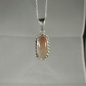 925 Sterling Silver Pendant With Amber Type Stone