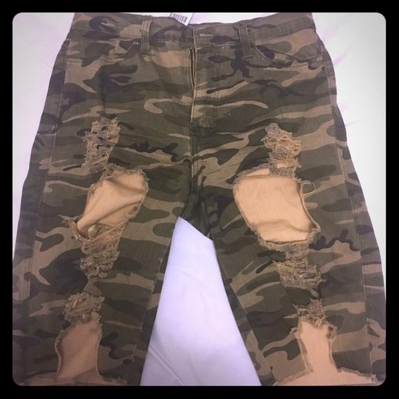 3679c8957f697 Fashion Nova Shorts   Distressed Army Fatigue Fitted   Poshmark