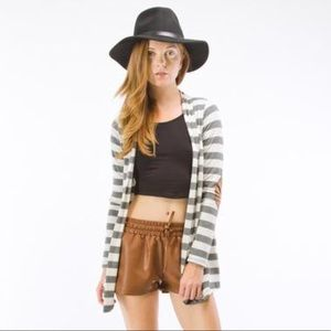 Gray and white striped cardigan w/ elbow patch