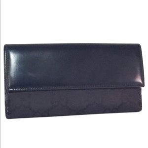 Authentic black leather n canvas Gucci long wallet