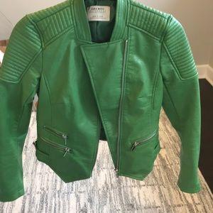 832a94c1b Zara green motercyle leather jacket