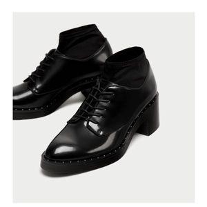 Zara Black Shining Shoe Lace With Heels Shoe 7.5