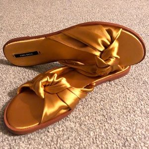 Zara Satin Bow Sandals Flats Slides US 9 Gold